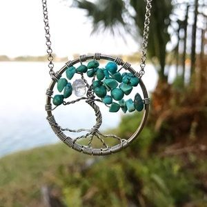 Genuine Turquoise moon stone tree of life necklace